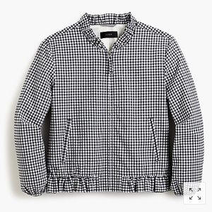 J Crew Ruffle Neck Bomber in gingham, size Large